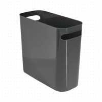 Whether it's stationed in the kitchen or tucked under the bathroom vanity, this wastebasket is sure to be a benefit to almost any space. It's crafted in the USA from plastic and features an understated design with two handles that help make it portable. Designed to accommodate up to 2.5 gallons, this basket features an open, lidless design for easy, hands-free use and includes a liner. Measuring just 10'' H x 5'' W x 10.75'' D, this rectangular trash bin is easily slipped into even...