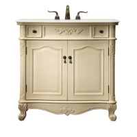 This bathroom vanity, brimming with classical character, is the perfect pick for any home or office bathrooms! Featuring 2 doors and 2 usable drawers and topped with an authentic marble countertop —occasionally with light brown veining, complimenting the antique-white finished base that open to reveal one interior shelf with ample space to stash toiletries and other bathroom essentials. Its superbly carved scroll feet and molded detail give it a dash of distinction.