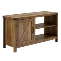 Anchor your living room layout with modern farmhouse flair with this clean-lined TV stand sized to accommodate flat-screens up to 48