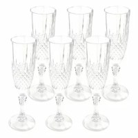 Pop the cork and enjoy a glass of champagne in these crystal-clear plastic wine stems. Perfect for serving bubbly at formal events and catering family celebrations. Elegantly present mimosas and rose to impress guests at brunch or dinner parties. The superior clarity, one-piece design, and classic design compose the upscale quality of this champagne flute set. The style complements any decor or theme. Also perfect for summer and pool parties so no broken glass hurts your guest's feet.