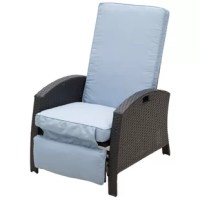 Have a seat in this outdoor recliner lounge chair and let your worries wash away as you enjoy the beautiful summer days. This patio chair has an inviting design that adjusts to add extra comfort to your patio area. The chair is made of PE rattan wicker and a lightweight yet durable steel frame. With its adjustable design plus padded cushioning in the backrest and footrest, you'll be able to sit comfortably at whatever angle you choose. Put some ice in your drink and enjoy the great outdoors...