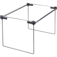 Hanging folder frame is a heavy-duty filing frame that adjusts to letter, legal or A-4 hanging products. Use in file drawers or on desktops. Easy-to-assemble frame has sturdy adjustable patented corners. Rails are scored to adjust from 19'' to 24'' length in 1'' increments.