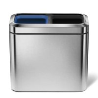 The 2.6 Gallon Slim Open Trash Can Dual Compartment has two inner buckets and a space-efficient shape that make it easy to separate your daily amount of trash and recyclables in one place perfect for hotel rooms or offices. Sturdy stainless steel construction and durable plastic buckets will ensure this can lasts a long time even in tough environments.