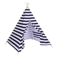 This tent is made of 100% cotton canvas, its durable and safety material make this product company your kid for many years. It can be used for many places, such like sleepover parties, baby showers, weddings, birthdays and beach parties and so on. Wherever you use, its delicate appearance can become a prefect adornment of your room.Features:1. 100% cotton canvas is more durable and safety2. Roller shutter can create a private space and built-in pocket can store books or toys3. Window provides a...