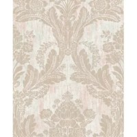 Brighten up walls with this brilliant, distressed wallpaper. A regal damask pattern perfectly complements the background, while raised inks add to its dimensional look. This Pattern is an unpasted, vinyl wallpaper.