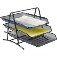 Create inboxes and outboxes in style with this front-loading, three-tier desk tray. Made of steel. Unique mesh design is made of quality construction with smooth edges and an excellent finish. Desk tray coordinates with other mesh desk accessories.