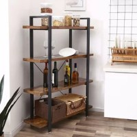 The style of this living room shelf can be described as a composition of a steel frame, which has the trendy industrial look and precisely crafted rustic style panels. The special design with wooden shelves protruding beyond the metal frame adds a very special touch. The result is an exciting picture and a piece of furniture that is robust, attractive, and functional at the same time. Perfect for bookworms if you like to lounge on the couch or in bed with a good book on a grey, rainy day, or if...