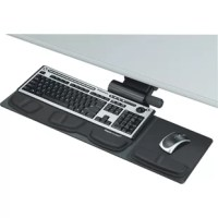 Fellowes Professional Compact Keyboard TrayCompact keyboard tray is ideal for smaller workspaces with diagonal/curved and straight workstations. Lift and lock feature lets you adjust the height from 3-1/2'' below the track to 1/2'' above track to reposition, and then straighten to lock in place. Keyboard tray swivels 360 degrees. Warning Trak helps prevent the mouse from sliding off the mousing platform. Health-V memory foam relieves wrist pressure to help prevent carpal tunnel syndrome and...
