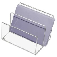 Enhance your desktop with organization and style. Mini sorter is crafted from heavy-cast polished acrylic for durability and a sleek, contemporary look. Two 1.75'' sections for organizing mail, notes and messages. Provides a clear view of contents for quick retrieval. Nonskid feet protect desktop.