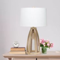 Illuminate your living space with this simple yet stylish glass table lamp. The glass jar shaped base and the fabric drum shade is the perfect blend of charm to give your home a contemporary and modern upgrade. Perfect for living rooms, bedrooms, kids and teens, college dorms, apartments, nurseries, or offices.
