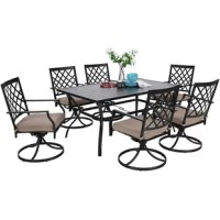 Our dining table set made of high-quality metal frame with weather resistant powder coating for a long time usage. Large 6 person rectangle table for you to have a perfect dinner time or afternoon coffee time with your family or friends. Our dining set is not only suitable for indoor but also suitable for outdoor. It is fit for any occasion.