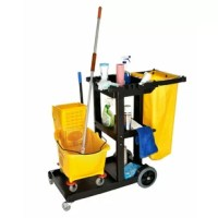 Janitor's cleaning supply cart features 3 sturdy shelves, a mop, and a broom holder to keep all your cleaning tools secured and within reach, and vinyl bag for collecting linen, etc. The spacious front platform is large enough to hold an additional trash can, mop bucket, and wringer, or large cleaning caddy. The janitors 3-shelf platform cleaning cart included an added non-marking wheel feature to protect your floors and walls. Perfect for janitorial staff at hotels, schools, offices, grocery...