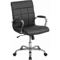 Contemporary office chair, high back design, built-in lumbar support, tilt lock mechanism, tilt tension adjustment knob, waterfall seat promotes healthy blood flow, swivel seat, pneumatic seat height adjustment, padded arms, chrome base, dual-wheel casters, white leathersoft upholstery, leathersoft is leather and polyurethane for added softness and durability, ca117 fire retardant foam.