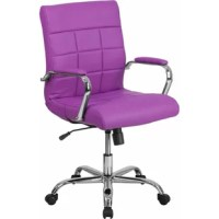 A contemporary office chair, mid-back design, green vinyl upholstery, quilted design covering, built-in lumbar support, tilt lock mechanism, tilt tension adjustment knob, waterfall seat promotes healthy blood flow, swivel seat, pneumatic seat height adjustment, padded arms, chrome base, dual-wheel casters, ca117 fire retardant foam.