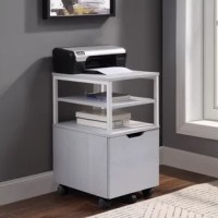 Keep your home office stylish and organized with the mobile storage cart.Pair it with the regular or L-shaped desk, where it nests neatly underneath, or use it on its own as an ideal storage and filing solution.The large drawer accommodates letter-sized files or can be used as additional storage. The three open shelves work for your printer, extra paper or as an extra work surface.The heavy-duty hardware and easy gliding locking casters offer versatility and durability.