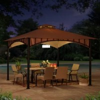 Expand your living space by moving the indoors outside to create an end-of-the-day oasis that's the perfect spot for entertaining family and friends. This 10 ft. x 10 ft. gazebo by the world's leading ready-to-assemble outdoor structure maker, Sunjoy, creates the perfect outdoor setting. Enjoy a covered spot outdoors under the weather-resistant outdoor canopy supported by a rust-resistant powder-coated steel frame. The two-tier roof provides for comfortable airflow. Amplify the wow factor...