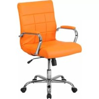 A contemporary office chair, mid-back design, orange vinyl upholstery, quilted design covering, built-in lumbar support, tilt lock mechanism, tilt tension adjustment knob, waterfall seat promotes healthy blood flow, swivel seat, pneumatic seat height adjustment, padded arms, chrome base, dual-wheel casters, ca117 fire retardant foam.