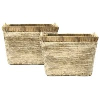 This corn rope wicker basket brings crisp clean style to any room. It is a hand-woven waste bin with a strong metal frame that is an both stylish and convenient. It is sturdy and practical, while still being absolutely lovely. Keep one in the home or office for paper waste or home storage needs.