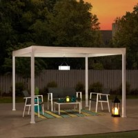 Finally, a modern and minimalistic focal point to complement your style for your outdoor home. This 10 ft. x 10 ft pergola by the world's leading ready-to-assemble outdoor structure maker, Sunjoy is the perfect solution. The rust-resistant steel frame supports this unique white weather-resistant flat top canopy with strategically placed drain holes to keep precipitation from building up during inclement weather. Set the mood by suspending a chandelier from the incorporated ceiling hook for...