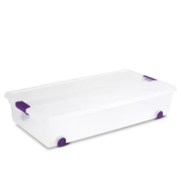 Keep yourself organized with the contemporary styling and seven useful sizes of the Sterilite ClearView Latch(TM) Box line. The product features smooth gliding wheels allowing it to be easily slid out from under a bed. Take advantage of that storage space for keeping wrapping paper, blankets, sweaters, accessories, or extra shoes, out of sight but close at hand. The clear base and lid allow contents to be easily identified from any angle. Color accented latches secure the lid to the base, yet...