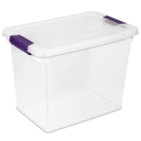 Keep yourself organized with the contemporary styling and seven useful sizes of the Sterilite ClearView Latch(TM) Box line. The product is ideal for storing boots, t-shirts, craft supplies and more, and conveniently fits on 16