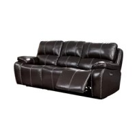 Luxurious, stylish elegance are at the forefront of this transitional leather power reclining sofa in any home. Upholstered in lush dark brown top grain leather, it's crafted with supple padding throughout with nailhead trim and contrast stitching adding handsome details for a truly sumptuous look and feel.