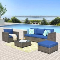 Comfortable set: this recently outdoor sectional sofa suitable for 4 friends satisfactorily with a table easier grab some drinks and stuff.