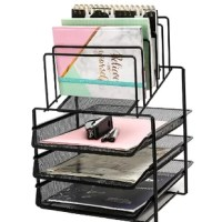 Desk organizer wire mesh has 3 layer sliding letter trays with 5 upright Sections and Dividers which can be as paper Sorter or file holder filing shelves for both office and school