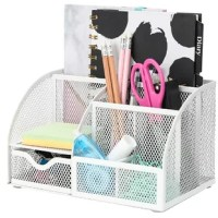 Mesh Desk Organizer Office has 7 Compartments including Drawer,Desk Tidy Candy,Pen Holder,Multifunctional Organizer