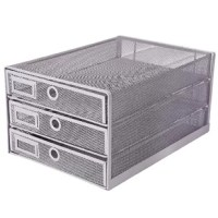 Mesh desk organizer has 3 tier sliding drawers in multifunctional which with premium solid construction for Letters, Documents, Mail, files, paper