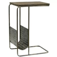 The industrial end tables with grey reclaimed wood top and the antique silver frame is about to become your new favorite piece of furniture! The products' C-shape is sure to serve you just as functional as they are decorative.