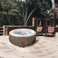 Find deep relaxation in your own backyard oasis with Aleko's round inflatable hot tub. This 6-person spa provides all of the mental and physical health benefits of a traditional hot tub with a more convenient installation process. The personal spa also comes in at a more accessible price point, making this an ideal option for people from all walks of life. This hot tub is a wonderful addition to most outdoor living spaces places it on your patio, in your garden, or anywhere you like to relax....