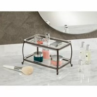 This Double Bathroom Accessory Tray brings elegant organization to your bathroom vanity. This double vanity tray is perfect for storing perfumes, accessories, and more.