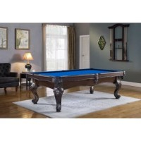 The product with its precision carved legs and double arched aprons brings to mind the classically designed pool table. Featuring machined components and finely honed slate, it is engineered for a quality assembly and a lifetime of reliable play. All components assemble via machined bolts and threaded inserts. K55 canvas-backed high-performance 100pct gum rubber cushions are used for the best available rebound performance. Hand-finished as the color Briar, the stains are hand applied and...