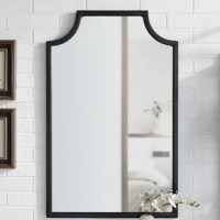 Stylish and modern, this wall mirror is an eye-catching addition to any home. A sturdy steel frame with pagoda-styling creates visual interest that can be paired with a variety of décor. Simple, yet fashionable, this wall mirror can be used as an accent or bathroom mirror.