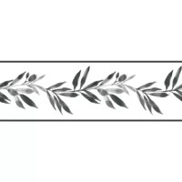 Grecian symbol of peace and victory, an olive branch is an appropriate design for a happy home and harmonious family; this is Olive Branch Wallpaper Border.