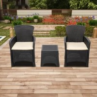 This 3-Piece Conversation Set, made of durable plastic material, is light-weighted, portable, and stylish. It is perfect for outdoor use as it is both weather and UV resistant. It is completely configurable, able to round out any outdoor living space, whether together, apart, or as an accompaniment to a larger ensemble of sectional outdoor furniture. Perfect for use on your patio, porch, sunroom, veranda or even poolside. Easy to coordinate with many decoration styles, now you can sit back and...