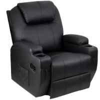 The multi-functional massage recliner is wrapped in high-quality skin-friendly PU leather, with a high-density sponge filling and solid wood/steel frame structure to ensure safety and comfort. There are eight massage points on the chair, the massage intensity, timing function, and heating function can be controlled by remote control easily. The heating function is located in the backrest and the handrails on both sides, effectively expelling cold and relieving fatigue. There are cup holders on...