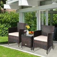 3 Piece patio furniture set - Enjoy your life. Enjoy the pleasure of having outdoor tea and conversation together under the sunshine. Contemporary elegant appearance matches the ergonomic design to blend into your unique home decor. The wicker furniture set with tempered glass table features the high-quality all-weather wicker and exquisite weaving technique in order to stay beautiful after years of use and aims to bring you a premium satisfaction of relaxation and romantic when you are...