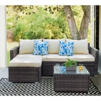Whether looking to soak in some sun with a good book and refreshing beverage on the porch or casually catching up with close friends over coffee on the patio, this three-piece sectional set is a must-have for your outdoor ensemble. Crafted from a steel frame and wrapped in woven wicker rattan, each piece is designed to stand up to sunshine beating down and rainstorms rolling through. Plus, includes coffee table provides a place to perch snack trays, drinks, and more.