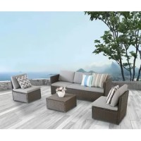 Bring a breezy style and seating to any outdoor arrangement with this four-piece sofa seating group with included cushions, complete with one three-seater sofa, two single sofas, and one rectangular coffee table with an easy-to-clean tempered glass top. Crafted with a steel inner frame, each weather-resistant piece is wrapped in woven wicker in a neutral tone for an airy and approachable look. Foam-filled cushions with polyester-blend upholstery top each seat, providing 3
