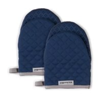 Shield your hands from the heat with the oven mitts (two-pack). Now moving dishes and bakeware in the oven is made safer and easier. These oven mitts for easy on and off use while handling hot pots, pans, and dishes. The heavy-duty, 100% cotton fabric on the outside as well as the cotton lining offers comfort, flexibility, and insulation. Textured, silicone print grips on the mitts are heat resistant and also ensure a more firm and secure grip when handling dishes and cookware. The matching...