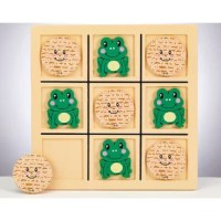Add some Pesach spirit with this novelty tic tac toe game! Whimsical frogs and matzahs battle to connect 3 in a row in this revision of the classic tic-tac-toe game. Provides hours of endless Passover fun! Made of wood.