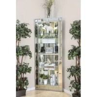Glamorous and versatile, this tall curio cabinet features a bright silver finish with mirror insert accents. Perfect for softening a corner in a contemporary living room or dining room, this cabinet is made to display cherished family heirlooms or favorite decor on five tempered glass shelves.