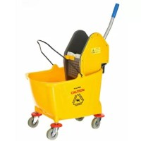 Mop bucket and down press wringer combo are perfect in any commercial setting including your restaurant, school, office, or health-care facility, this all-in-1 combo makes cleaning a breeze. Transporting your cleaning supplies can be difficult, but with our wringer/bucket combo, everything is at your fingertips to get the job done. Safety features also provide peace of mind for you and your staff.
