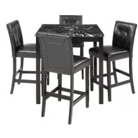 The five-counter dining set includes a table and four matching chairs. Counter height dining table with artificial marble finishes. The 4-seater high table and chair set are crafted to exacting quality standards to ensure the quality of the final product. The rubberwood frame is sturdy and can carry 250 pounds, while the leather seat cover requires almost no maintenance during daily use.