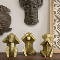 This delightful Set of 3 Wise Monkey Sculpture is a wonderful contemporary interpretation of the old Japanese proverb,