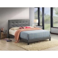 This contemporary platform bed is the perfect addition to your space. Clean lines are accented by button tufting detail. The headboard can be adjusted to 2 different heights to accommodate varying mattress thicknesses. All frame parts are conveniently located within the headboard.