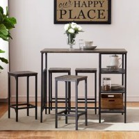 Create a home bar for sipping morning coffee or enjoying your breakfast with dining table set.  Crafted from manufactured wood and metal in black finish, this five-piece set includes one rectangular table and four stools with a built-in footrest. The backless stools can be easily tucked away under the table for space-saving. This bar table set added three open storage shelves on one side that allow you to keep napkins, plates, wine glass and dinnerware within ease reach. It a perfect size for...