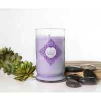 Soothing Lavender features tranquil scents that will calm any room in your home. It is poured into a tumbled glass jar with an embossed silver lid.